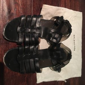 Pre-Owned Balenciaga Black Leather Caged Sandals